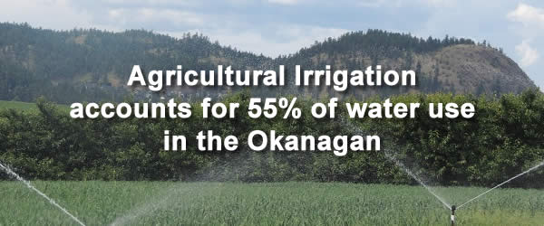 Agricultural Irrigation accounts for 55% of water use in the Okanagan